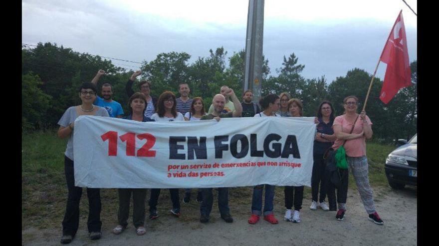 Una de las protestas del personal del 112