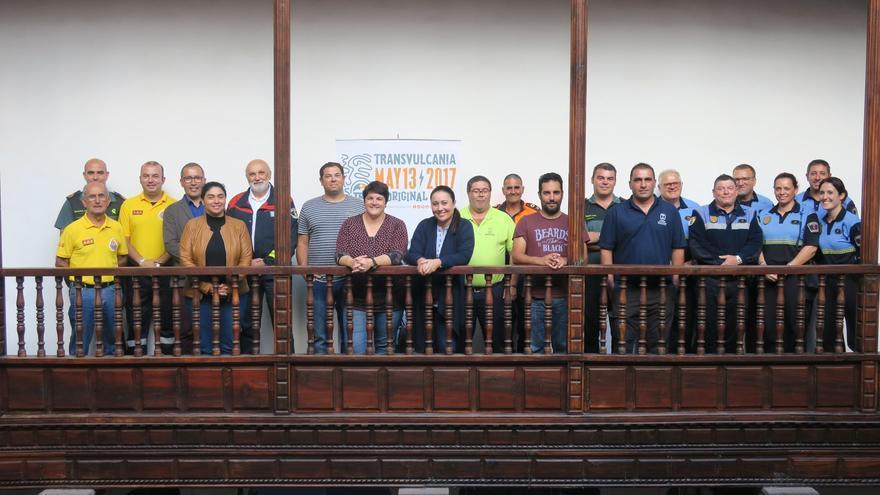 Representantes del dispositivo de seguridad de la Transvulcania Naviera Armas 2017 en la Casa Salazar.