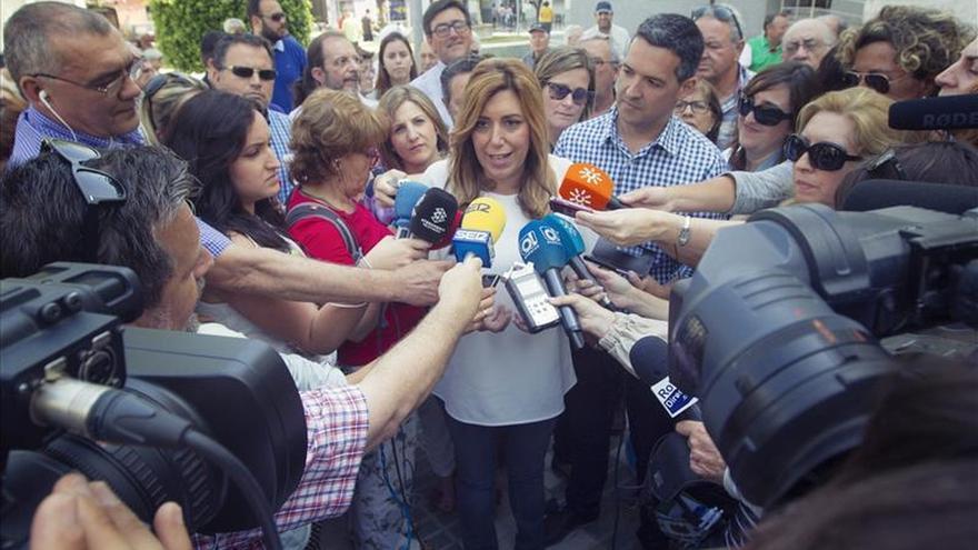 Susana Díaz y Pedro Sánchez no se saludan en público antes del mitin