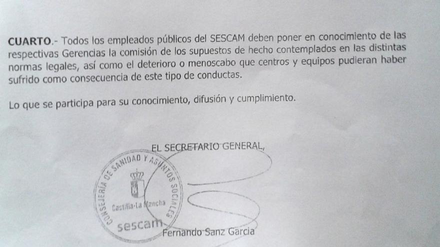 Extracto de la nota interna que se envió a los trabajadores sanitarios de Toledo