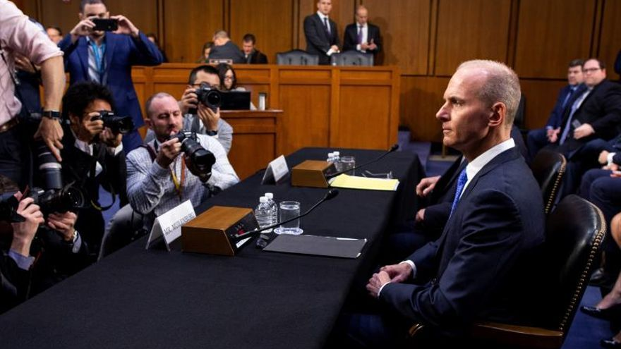 President and CEO of Boeing Dennis Muilenburg (R) arrives to appear before the US Senate Committee on Commerce, Science and Transportation hearing on 'Aviation Safety and the Future of Boeing's 737 MAX', on Capitol Hill in Washington, DC, USA, 29 October 2019.
