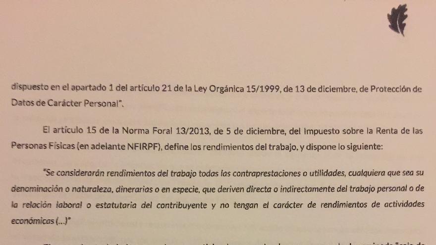 Carta de la Hacienda vizcaína a los sindicatos vascos.