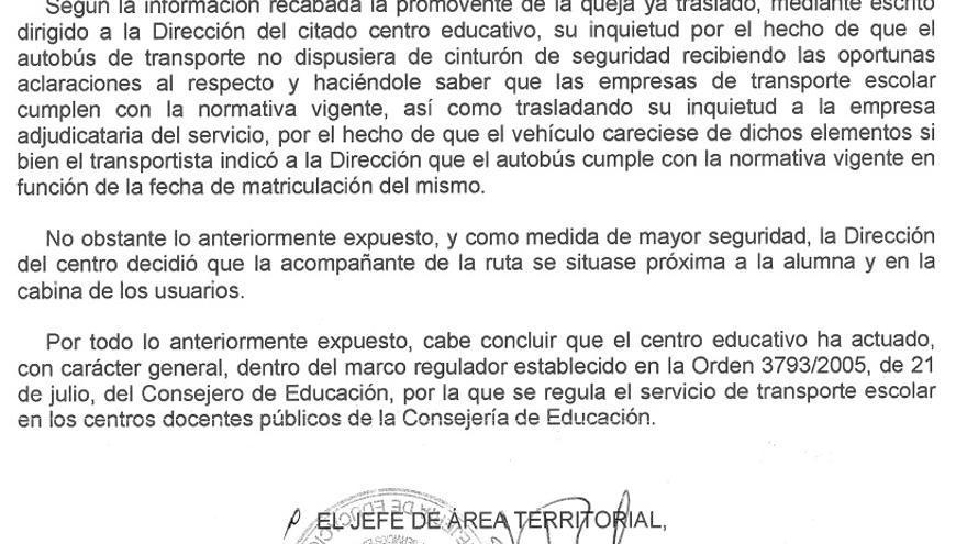 Respuesta de la Consejería de Educación de la Comunidad de Madrid a la madre de Manuela