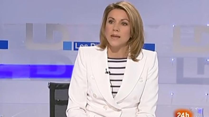 María Dolores de Cospedal, cuando se quejaba de la manipulación informativa en la TVE de la era Zapatero.