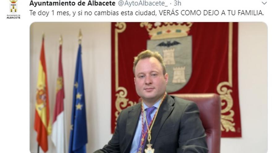 Tuit en el perfil hackeado del Ayuntamiento de Albacete