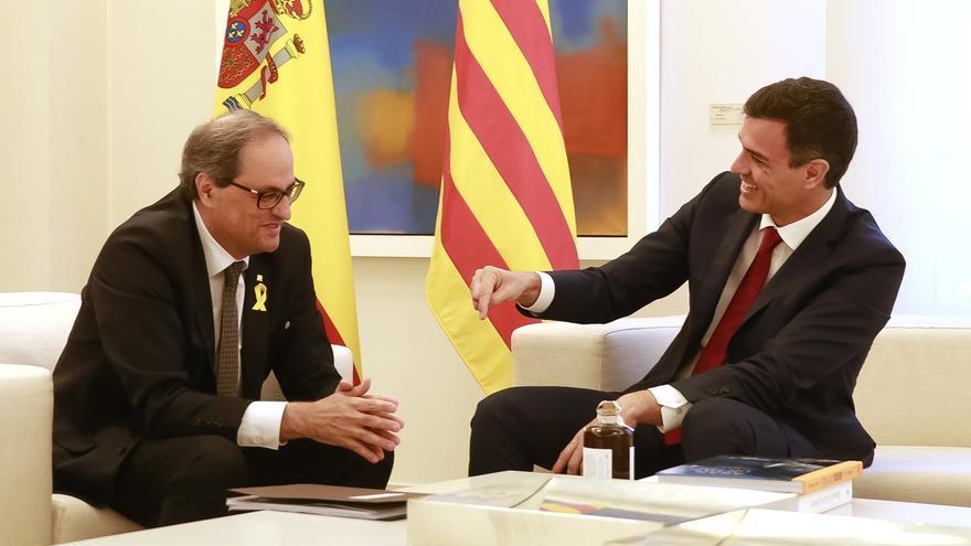 Torra y Sánchez durante una reunión en La Moncloa