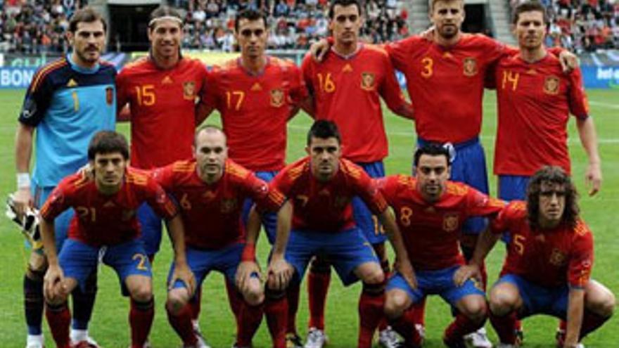 Alineación de España en un amistoso reciente. (GETTY IMAGES)