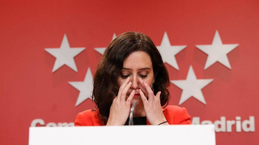 La presidenta de la Comunidad de Madrid, Isabel Díaz Ayuso, durante una rueda de prensa
