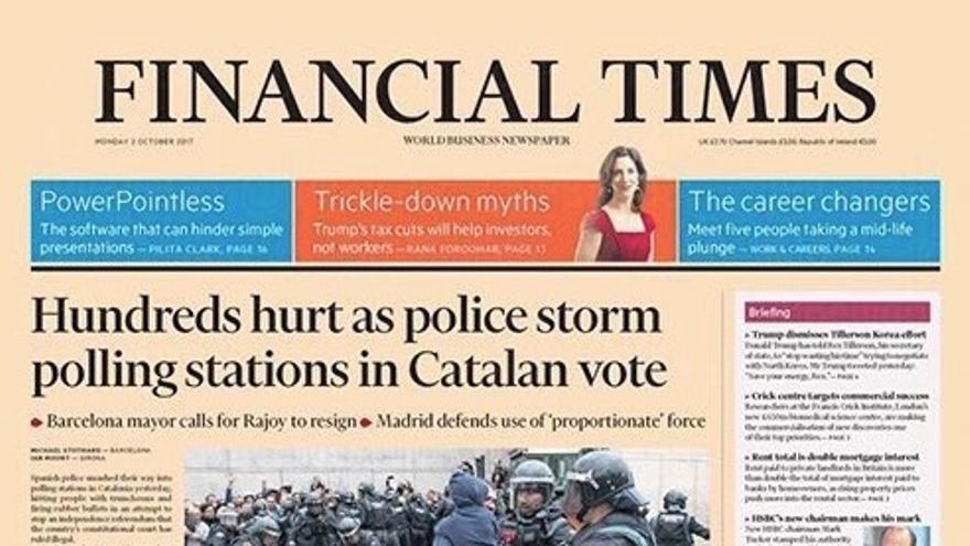 Portada de Financial Times este 2 de octubre de 2017.