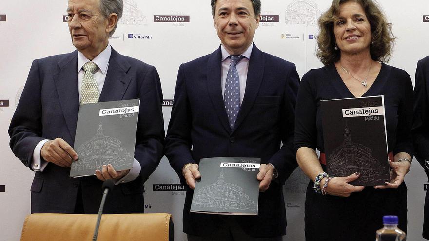 Juan Miguel Villar Mir, Ignacio González y Ana Botella, en la presentación de un proyecto de OHL en Madrid, en 2013