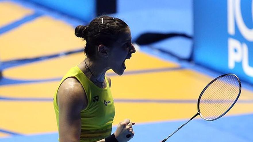 Carolina Marín celebra un punto en el Open de Malasia de bádminton