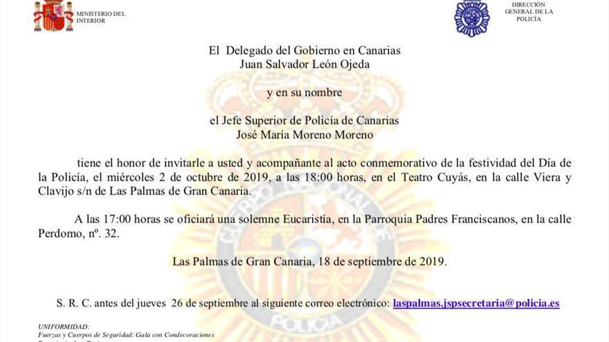 Documento del delegado de Interior, Juan Salvador Ojeda.
