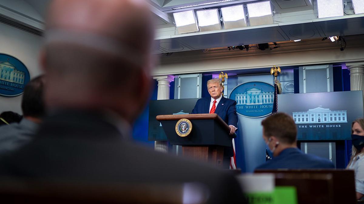 Donald Trump, durante una rueda de prensa celebrada este lunes en la Casa Blanca.