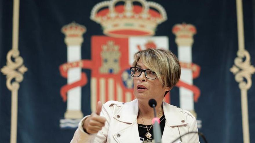 La delegada del Gobierno en Canarias, Elena Máñez, durante la rueda de prensa que ofreció para informar sobre las partidas que destina a las islas el proyecto de Presupuestos Generales del Estado de 2019. EFE/Ángel Medina G.