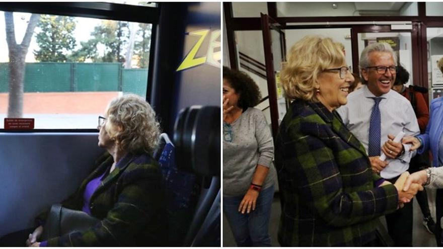Dos momentos de la visita de Carmena a Chamberí   AYUNTAMIENTO DE MADRID