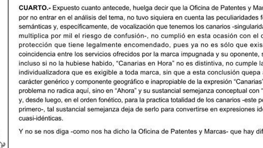 """Parte de la sentencia del TSJC que anula la marca """"Canarias en Hora""""."""