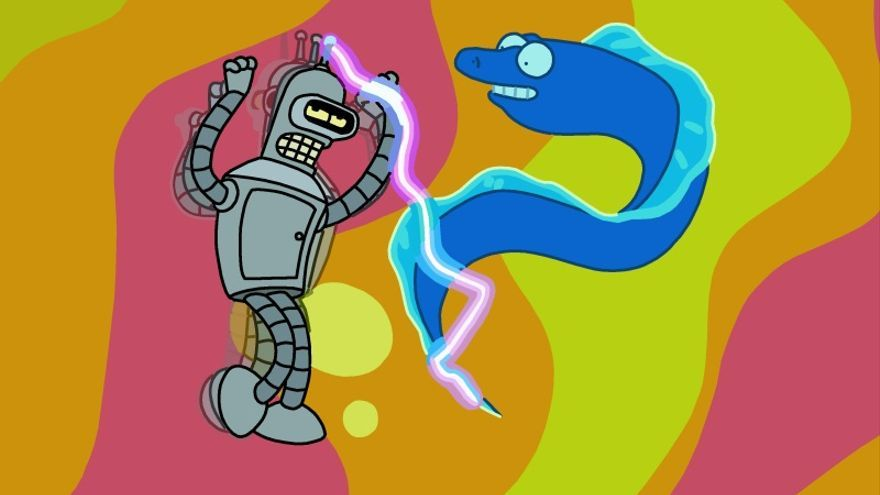 Bender, alucinando después de una dosis de electricidad