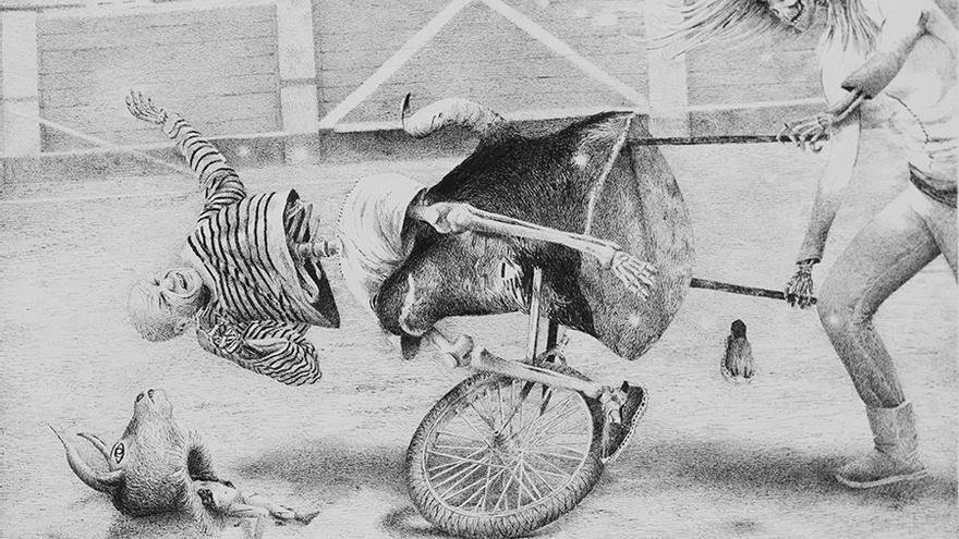 'El toro ya no era él'. Tinta sobre papel. Santiago Talavera, 2106.