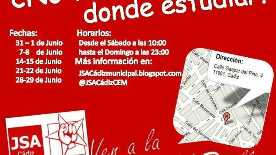Folleto del PSOE de Cádiz con la invitación a estudiar en la agrupación.