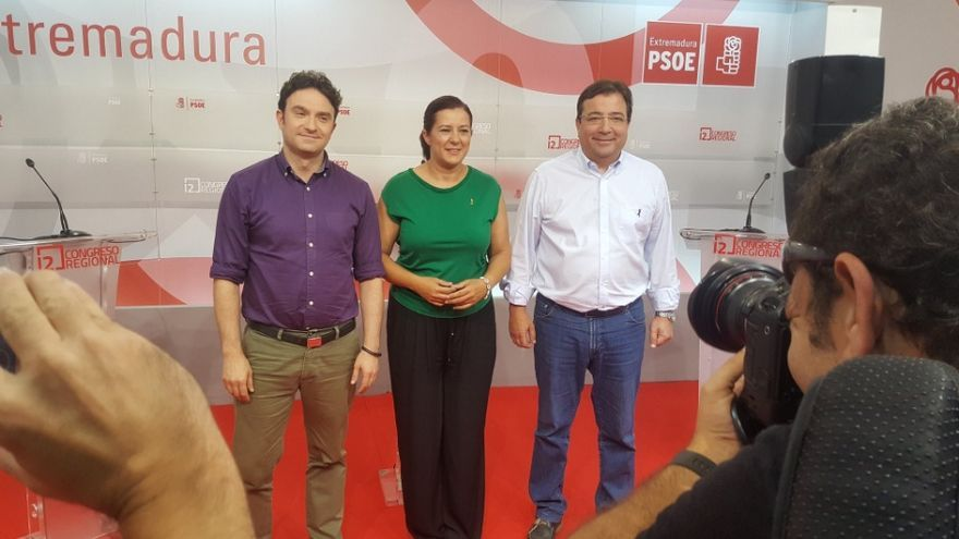 Los tres candidatos a las primarias del PSOE extremeño