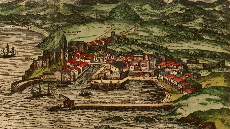 Santander finales del siglo XVI, por Joris Hoefnagel. Grabado del Civitates Orbis Terrarum.