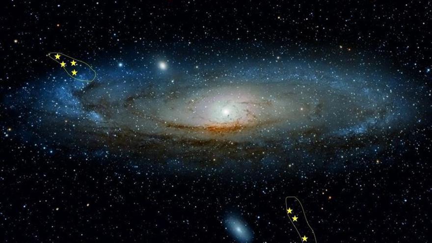 El equipo estudió siete nebulosas situadas en el Espolón del norte y en la Corriente gigante, las dos subestructuras principales de Andrómeda que se hallan en ambos extremos de la galaxia, la segunda muy alejada del disco galáctico.  (IAA-CSIC)