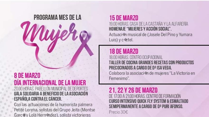 """Programa de actividades por el """"mes de la mujer"""" en la Victoria de Acentejo."""