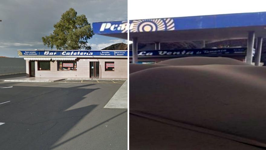 Antes y después de una gasolinera en La Palma tras 25 días de lluvias de cenizas volcánicas