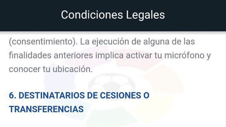 Aviso engañoso de la app de La Liga, detectado por uno de los primeros usuarios en denunciarlo, el especialista en derecho tecnológico Jorge Morell