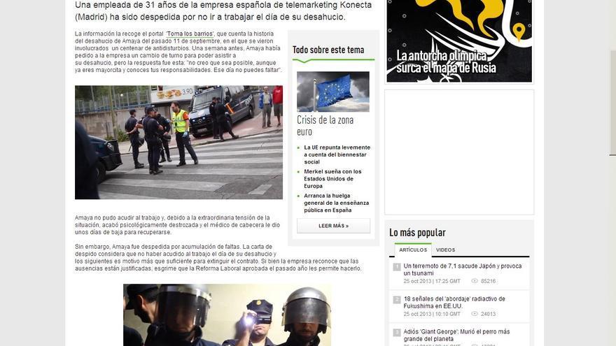 Imagen del desahucio de Amaya en RT