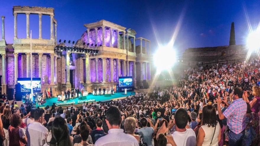 El Teatro Romano de Mérida, durante los actos del Día de Extremadura