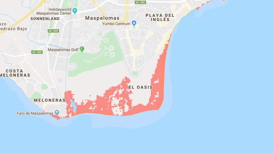 Mapa de la costa sur de Gran Canaria en riesgo de desaparecer por la subida del mar.