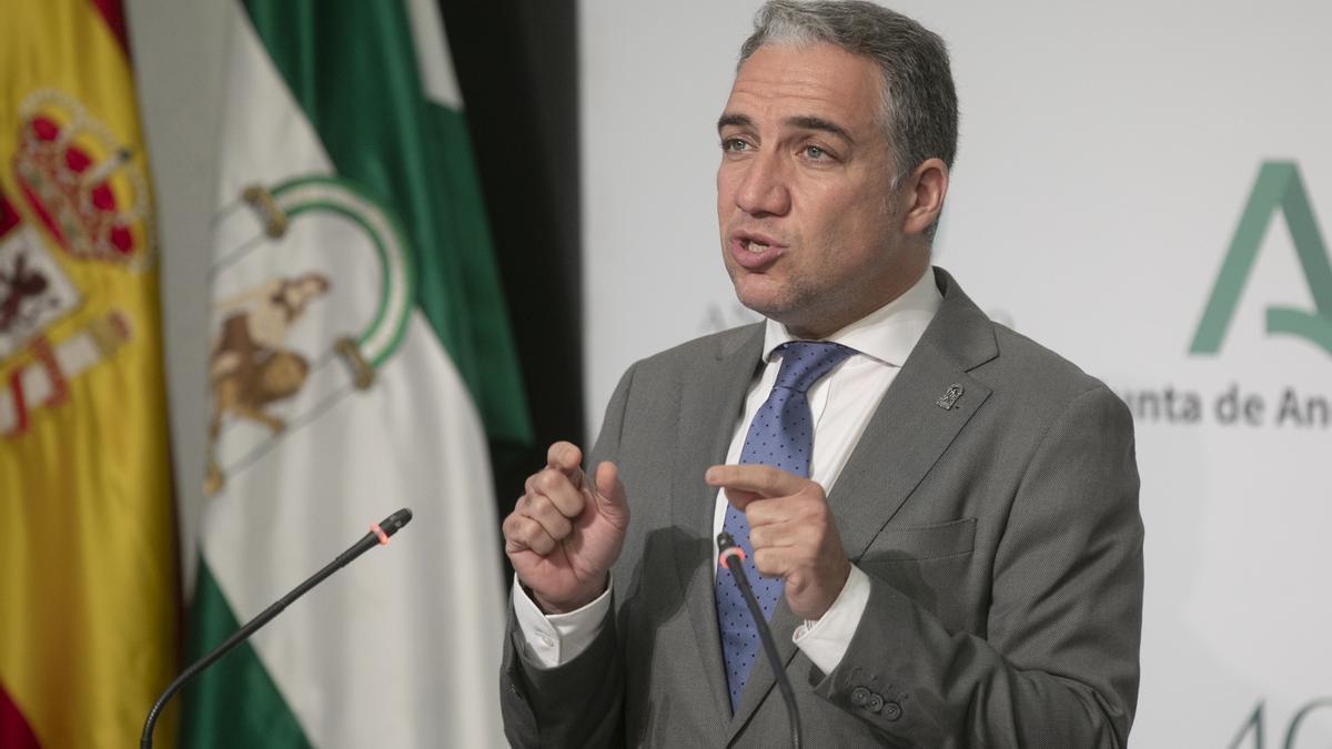 El consejero de la Presidencia y portavoz del Gobierno andaluz, Elías Bendodo, en una fotografía de archivo.