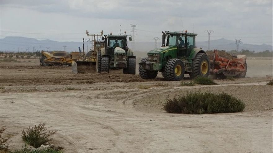 Tractores ampliando regadíos en el Campo de Cartagena en el verano de 2017 / P.García/ANSE