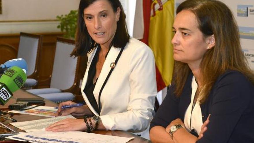 Gema Igual, alcaldesa de Santander (izda.), y Margarita Rojo, concejala de Medio Ambiente.