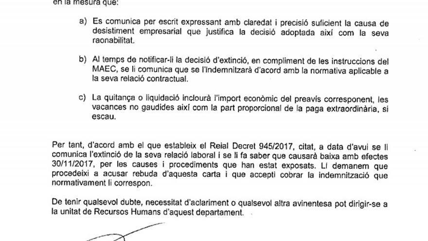 Segunda parte de la carta del secretario general de Exteriores de la Generalitat