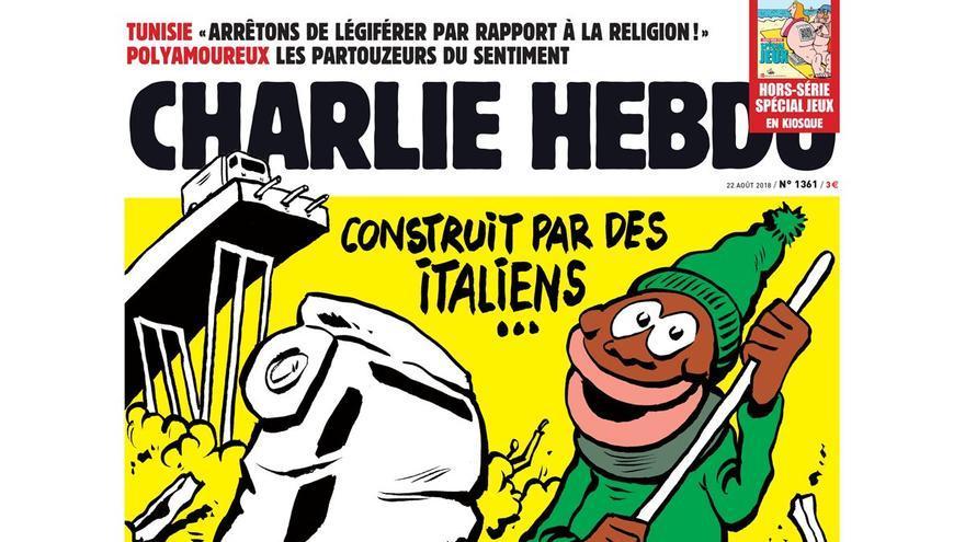 La revista satírica Charlie Hebdo critica la política migratoria de Matteo Salvini en su nueva portada.