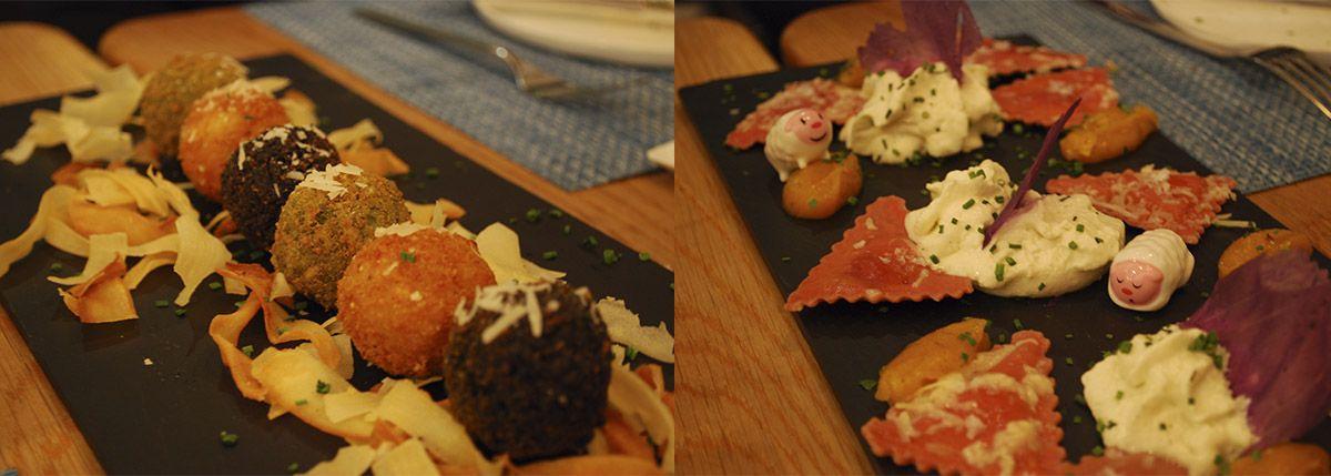 Díptico croquetas de risotto y ravioli de remolacha_Malasaña a mordiscos_La T Gastrobar