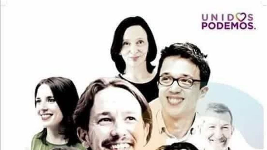 26J- El cartel de Unidos Podemos mezcla rostros de Podemos con referentes de las coaliciones como Garzón, Colau y Oltra