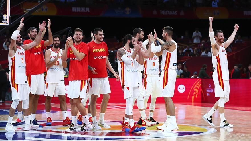 España celebra su pase a la final del Mundobasket
