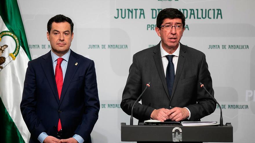 El presidente y el vicepresidente de la Junta, Juanma Moreno y Juan Marín.