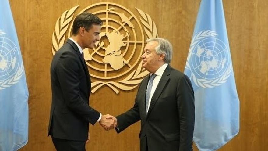 Pedro Sánchez con el secretario general de la ONU, Antonio Guterres
