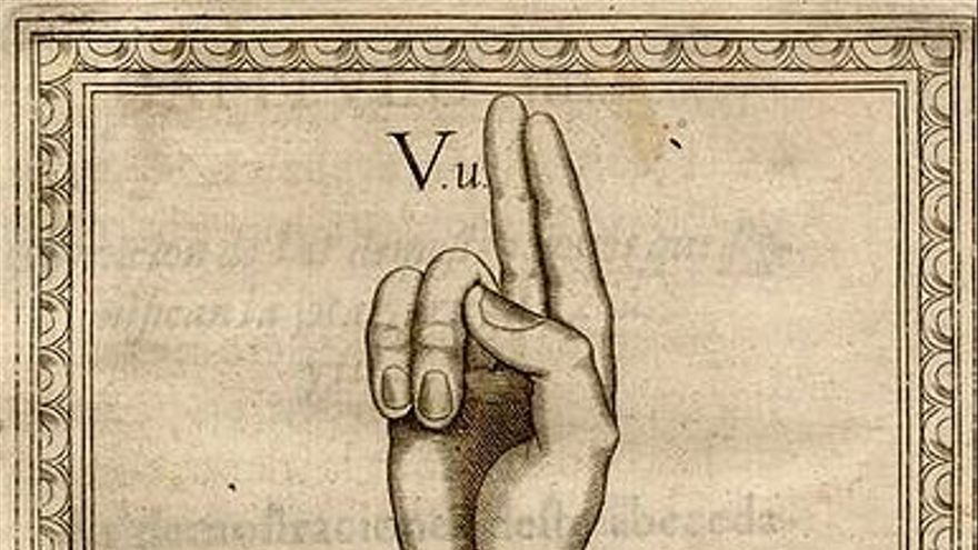Parte de un abecedario de lengua de signos española del año 1620