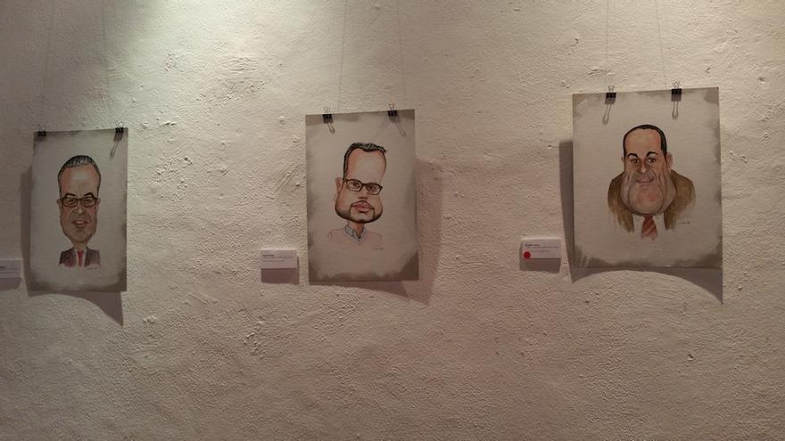 Caricaturas de Sergio Matos, Jordi Pérez y Basilio Pérez. Foto: LUZ RODRÍGUEZ.