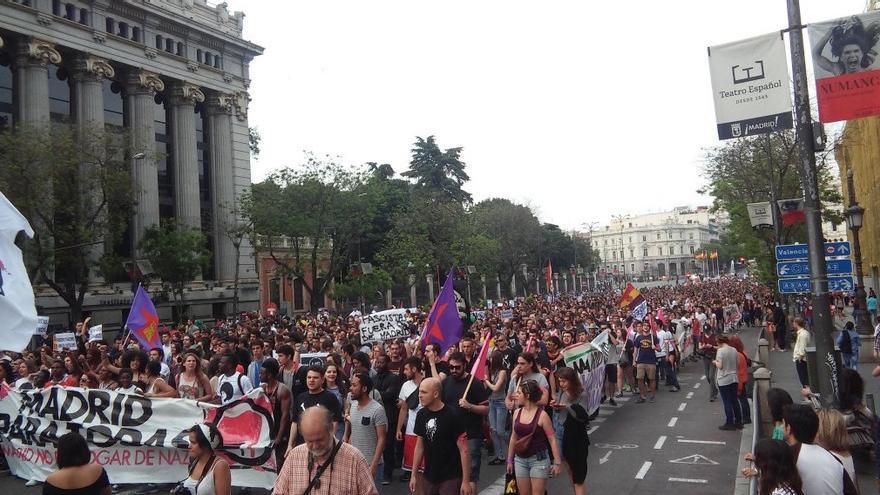 Manifestación antirracista en Madrid, con el lema 'Madrid para todas', este 21 de mayo de 2016. | Foto: @MadridParaTodas.