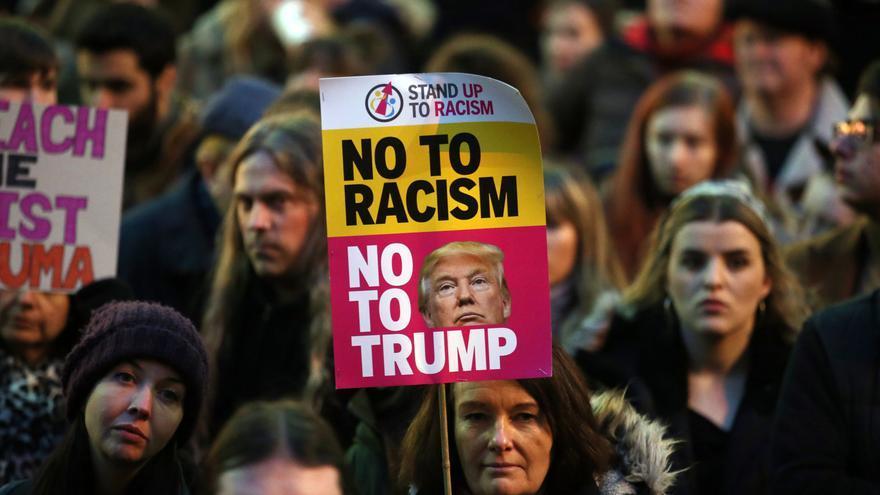 Protestas contra el decreto migratorio de Estados Unidos en Glasgow.
