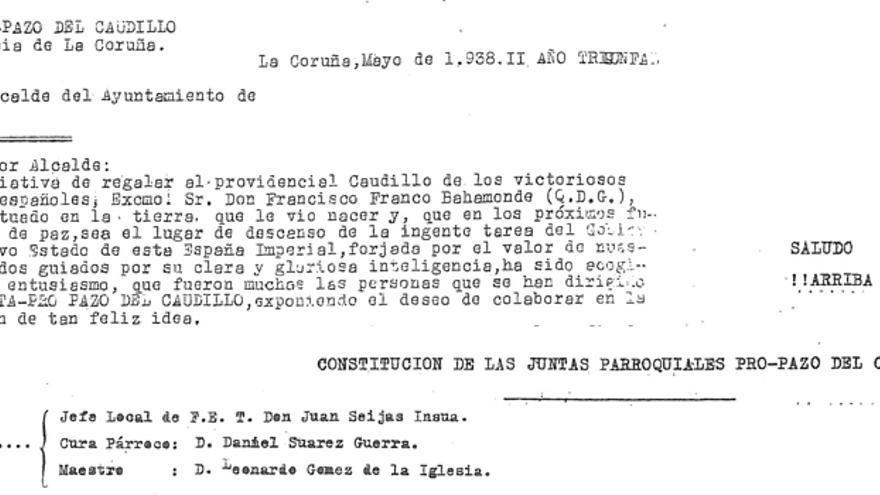 Documentación de 1938 con las órdenes para recaudar los fondos destinados a comprar el Pazo