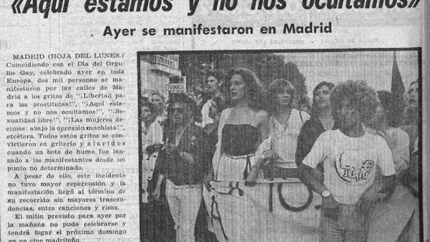 Noticia sobre la manifestación en la portada del 26 de junio de 1978 de Hoja del Lunes