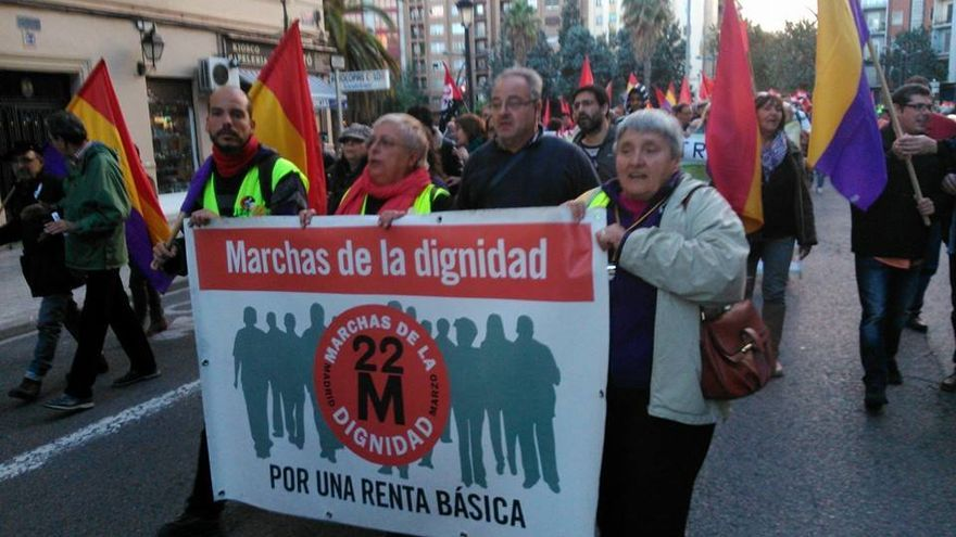 Las Marchas por la Dignidad a su llegada a Valencia