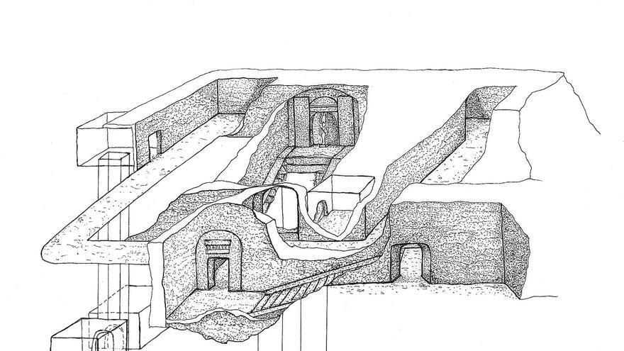 Dibujo que representa un esquema de la tumba descubierta. Imagen de Min Project/Drawing by Rafaella Carrera.